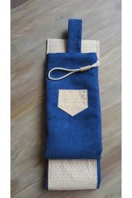 Housse artisanale avec poche et anse/pour jo ,bokken,tanto et shinai/ Modèle Cap Coz en suédine bleue L