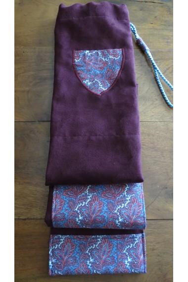 Modèle Cap Coz en suédine aubergine/housse artisanale avec poche et anse/pour jo ,bokken,tanto,iaito,et shinai