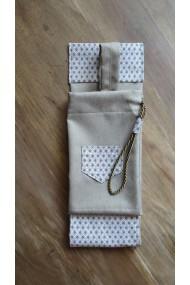 Housse artisanale avec poche et anse/pour jo ,bokken,tanto et shinai/Modèle Cap Coz effet lin beige
