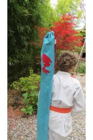 "Housse Artisanale Enfant ,pour jo bokken,shinai et tanto/Modèle ""poisson""avec anse"