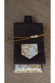 Housse artisanale avec poche et anse/pour jo ,bokken,tanto et shinai/ Modèle Cap Coz en suédine marron