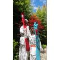Housse artisanale avec poche et anse/pour jo ,bokken,tanto et shinai/ Modèle Cap Coz en suédine rouge