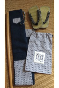 Housse artisanale avec poche /pour jo ,bokken,tanto et shinai/ Modèle Kerity en suédine bleu marine