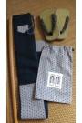 Housse artisanale avec poche et anse/pour jo ,bokken,tanto et shinai/ Modèle Cap Coz en suédine bleu marine