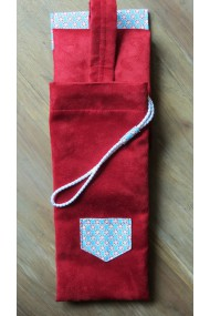 Housse artisanale avec anse ,pour jo ,bokken,tanto,et shinai/ modele ILE TUDY /suédine  rouge/ cottage