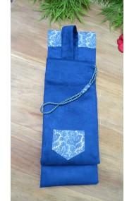 Housse artisanale avec anse ,pour jo ,bokken,tanto et shinai/Modèle Ile Tudy/suédine  Bleu L