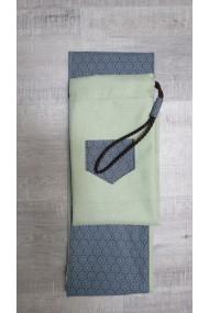 Housse artisanale avec poche ,pour jo ,bokken,tanto et shinai/ Modèle Kerity/effet lin vert