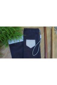 Housse artisanale avec poche ,pour jo ,bokken,tanto et shinai/ Modèle Kerity /suédine noire